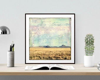 "Desert Print: Mixed Media Photography, New Mexico Print, Sorocco County NM, Southwest Print, Mountains 8""x8"" or 12""x12"" print, ""Polvadera"""
