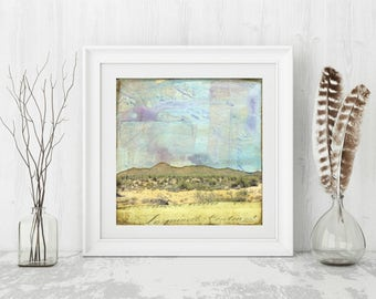 "Saguaro National Park Print: Mixed Media Photography, Sonoran Desert Print, Arizona Print, Southwest Print, 8""x8"" or 12""x12"" print, ""Sonora"""