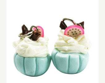 4 Miniature Mint Cupcake Polymer Clay Foods Supplies for Beaded Jewelry Charms