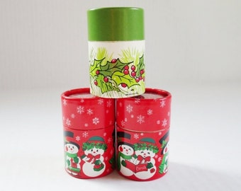 Vintage Hallmark Stick Matches in Christmas Tubes, Wood Christmas Matches, Hallmark Keepsake Candle Match Sticks, Vintage Candle Matches