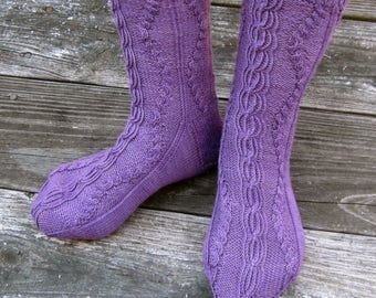 Knit Sock Pattern:  Sketrich Cabled Socks Knitting Pattern
