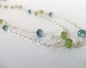London Blue Topaz, Peridot, Sapphire Gemstone Handmade Necklace on Sterling Silver Extra Long