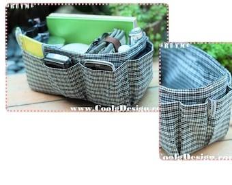 Handbag Bag Organizer Insert Perfect organizer for finding items quickly /Black White Plaid / Medium 22x8cm