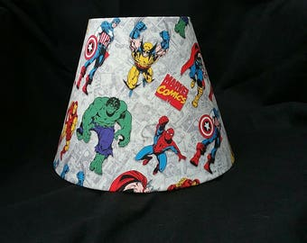 Marvel super hero lamp shade.  Thor, Ironman, Hulk, Captain America, Spiderman, Wolverine