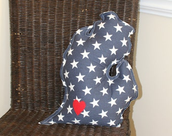 "Michigan ""Mitten"" Pillow Blue & White Stars"