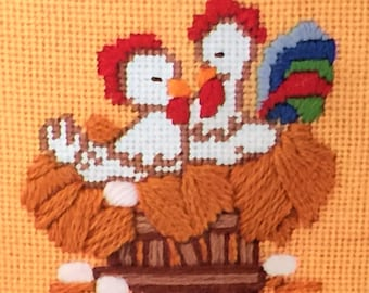 Rooster Chicken Needlepoint Kit Poultry Pair NeedlePointers vintage Country Kitchen Farm Sunset stitchery craft picture diy Kooler