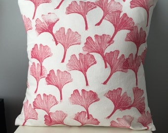 Pink Ginko Leaves Pillow Cover. Hand Block Printed Pillow Case. Modern Pillow Cushion. Custom Colors Available. Boho Botanical Prints.