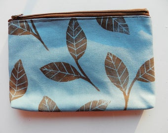 Zipper Clutch or Pouch. Blue and Brown Leaves Pattern. 8 Inch. Block Printed Botanical Print. Coin Purse Sunglasses.  Travel Organization.