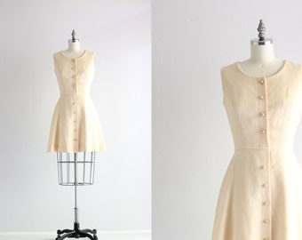 1960s Mod Dress . Vintage Fit and Flare Dress . Cream 60s Dress