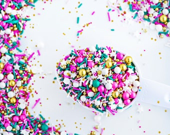COSMOS & CUPCAKES Twinkle Sprinkle Medley, Pink and Turquoise, Gold, Canadian Sprinkles
