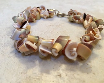 Curly Shell Bracelet...with Sterling Silver Lobster Claw Clasp
