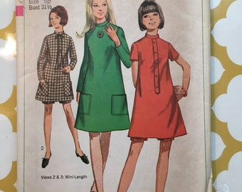 1967 Simplicity Sewing Pattern 7316 Misses Junior Mini Shift Dress with Shorts Size 5 Jr cut-junior mini dress, shift dress with shorts