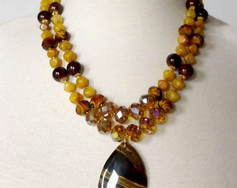Double Strand Statement Necklace, Brown And Yellow Necklace, Tiger Eye Pendant Necklace, Gemstone Statement Necklace, Big Bold Necklace