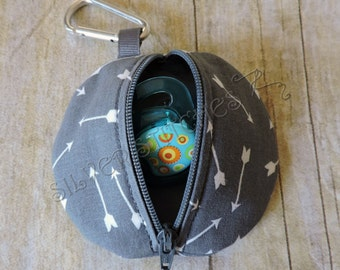 Pacifier Pod, Grey with White Arrows, Diaper Bag Accessories, Baby Gift Set, Fabric Zipper Case, Paci Pod