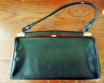 Vintage 1960s Black Honey Bag Purse / 60s HandBag / Honey Bag Purse / Vintage Hand Bag / Black Leather Bag / Vintage Purse