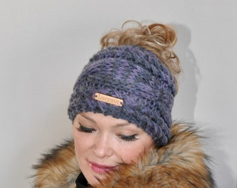 Messy Bun Beanie Ponytail Hat Messy Bun Hat CHOOSE COLOR Birch Brown Cabled Beanie Ponytail Beanie Hat Beanie with hole Mom Life Hat Gift
