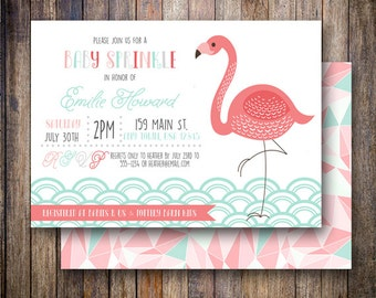 Flamingo Baby Sprinkle Invitation, Flamingo Baby Shower Invite, Printable Baby Shower Invite - Wading Flamingo in Coral and Light Teal