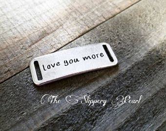 Quote Connector Pendant Word Pendant Link LOVE YOU MORE Pendant Antiqued Silver Word Pendant Link