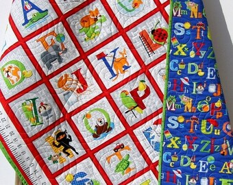 Fun with ABCs Quilt Baby Blanket Nursery Crib Bedding Gender Neutral Cot Quilt ABC 123 Number Letters Alphabet Animals Blue Green Blanket