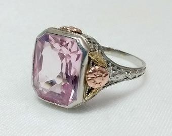 Vintage 14K Tri-Color Gold Filigree Art Nouveau Radiant Cut Rectangle 6.13ct Pink Topaz Ring Size 9