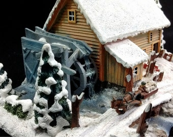 """Vintage Currier & Ives """"The Old Grist Mill"""" Numbered Sculpture Hawthorne Figurine Horse Drawn Sleigh Past Snow Covered Mill"""