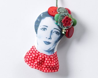 Christmas Tree Hanging Ornament Decor, Beaded ornament OOAK Doll head with red green Vintage Buttons and beads crown -  eco fabric doll
