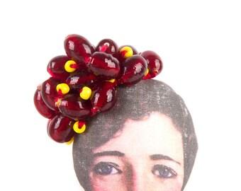Ooak art Doll , Vintage glass Beads , Collectible doll , Sculpture Fiber , Textile art , boho floral crown , living room decor , bedroom art
