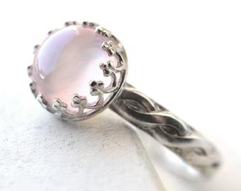 Celtic Gemstone Ring, Rose Quartz Ring, Custom Engraving, Engravable Engagement Ring, Celtic Braid Wedding Ring, Pink Gemstone Ring