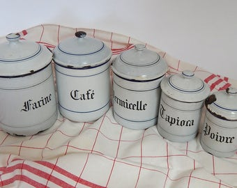 5 French Vintage Enamelware Canisters with Lids Blue and White with Free Kitchen Towel!