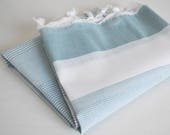 NEW / SALE 70 OFF/ Turkish Beach Bath Towel Peshtemal / Blue Gray / Wedding Gift, Spa, Swim, Pool Towels and Pareo