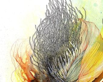The beginning of light felt like amber / Giclee print / multiple sizes / contemporary artwork / abstract art