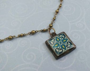 Gold-Plated Brass Ball Chain, With Original Teal and Blue, Catalina, Mexican and Mediterranean Tile Inspired Necklace