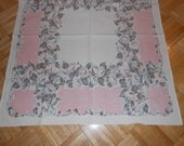 Vintage cotton tablecloth Luncheon cloth Table center, 36 x 32, Morning Glories, Seafoam and pink, soft colors