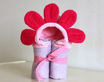Flower Towel, Baby Hooded Towel, Baby Girl Gift