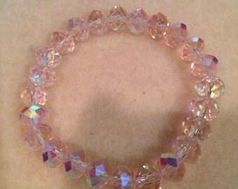 Faceted Pale Pink Aurora Borealis Crystal Bead Stretch Bracelet - Rainbow Sparkle