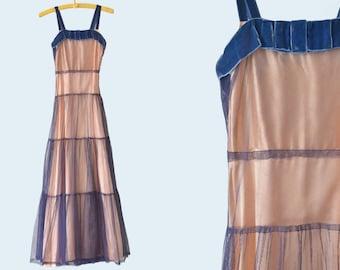 30's Sheer Navy Tulle and Velvet Dress w Pink Slip Lining Size XS/XXS