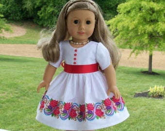 "SUPER SATURDAY SALE!! Formal Dress with Elaborate Embroidery / Doll Clothes  for American Girl Maryellen, Melody, Tenney,  or other 18"" Doll"