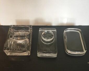 Vintage Glass Paperweights Office Accessories Storage Desk Organizer 3 Pieces