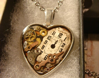Clockwork Heart with Vintage Watch Parts Steampunk Style Necklace (2375)