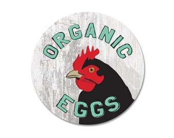"Organic Eggs Sign 9"" Round"