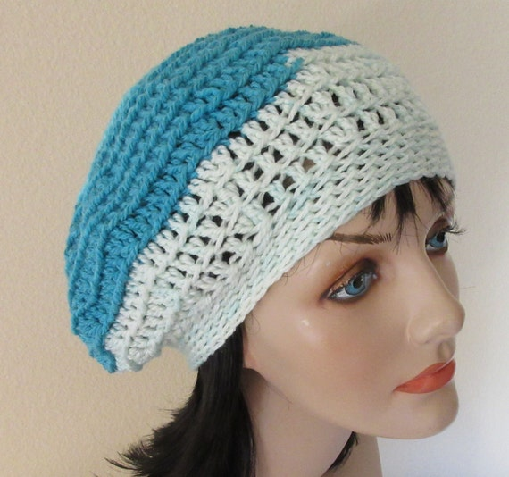 Shades of Blue Slouchy Hat Cold Weather Accessory Wool Hat