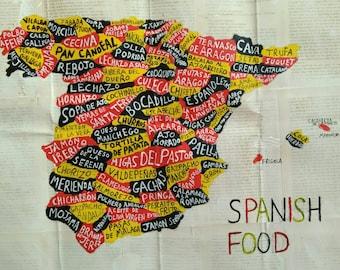 Spain map, original art work, acrylic paint, 40cm x 50cm, Spanish food