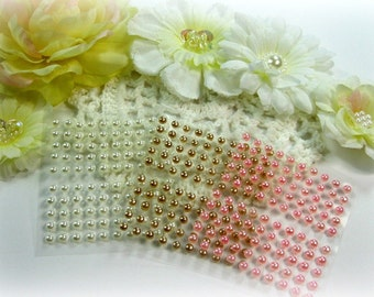 300 Baby Bling Self Adhesive Pearls in White Champagne and Pink For Scrapbooking Mini Albums Paper Crafts Cards and DIY crafts