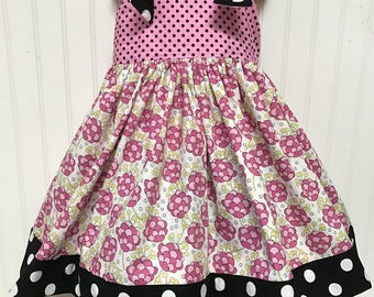 Spring Pink Flowers and Polka Dots size 5
