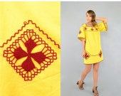 FEBRUARY SALE 70's Embroidered MEXICAN Tunic / Mini Dress
