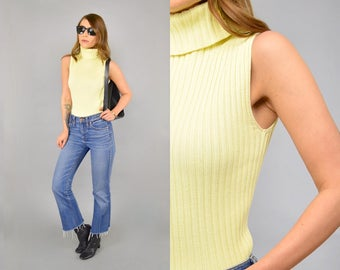 90's Ribbed Sweater Tank Top