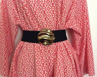 Wide black elastic belt Big Buckle Black stretch cinch belt