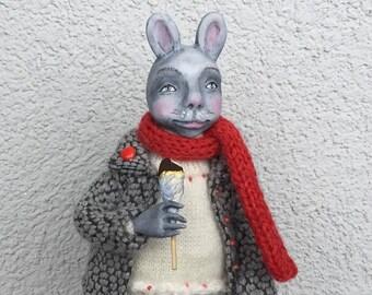 Bunny doll OOAK doll Collecting doll Art doll Clay doll Air dry clay doll Animals doll