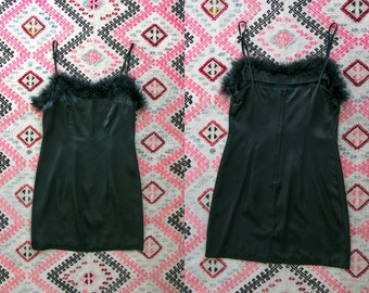 Vintage 1990's Black Rayon and Ostrich Feather Trimmed Slip/Lingerie Women's Sexy Size 7 Made in the USA by Jay Jacobs