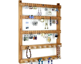 Jewelry Display / Earring Organizer, Cherry, Wood, Wall Mount, Necklace Holder. Holds up to 54 pairs, 15 pegs. Jewelry Holder